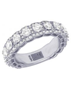14K White Gold Real Diamond Eternity Ring Band 3.66 CT 6MM