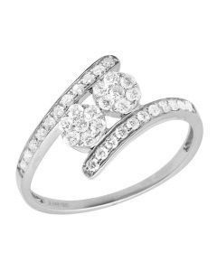 Ladies 14K White Gold Real Diamond Clusters Engagement Ring 0.50ct