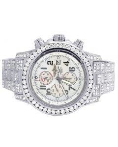 Custom Breitling A13370 Super Avenger 48MM Fully Iced Out Diamond Watch 23.0 Ct