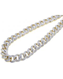 10K Yellow Gold Diamond 10MM Miami Cuban Link Choker Necklace 16.55 Ct 18""