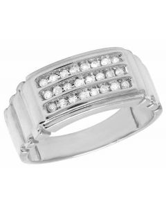 Men's 10K White Gold Real Diamond Channel Wedding Ring 1/4 CT 9MM