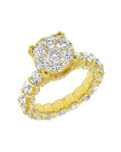 14K Yellow Gold Eternity Flower Cluster Diamond Engagement Ring 11MM 6CT