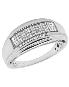 Men's White Gold Sterling Silver Real Diamonds Wedding Band Ring 0.20ct