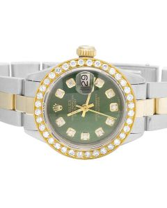 Ladies Rolex Datejust 18K/ Steel Oyster 26MM Green Dial Diamond Watch (2.0 Ct)