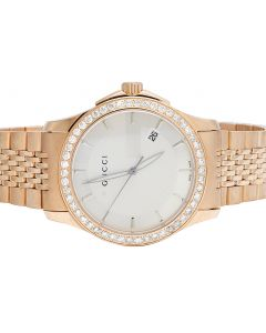 Mens Gucci G-Timeless YA126409 Rose Steel 38MM Diamond Watch 2.0 Ct