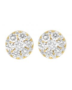 10K Yellow Gold 1 CT Diamond Cluster Stud Earrings 7MM