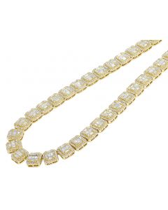 Yellow Gold Square Halo Baguette Diamond Necklace 10 MM 29.95 CT