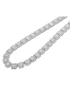 White Gold Square Halo Baguette Diamond Necklace 10 MM 29.95 CT