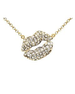 10K Yellow Gold Kissing Lips Diamond Pendant with 16 inch Chain 0.50ct