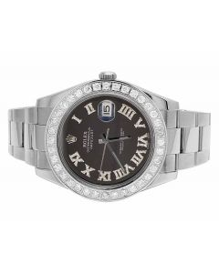 Rolex Datejust II 116300 Black Roman Dial Diamond Watch (4.5 Ct)