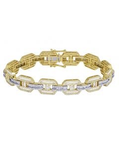 "10K Yellow Gold Diamond Baguette GG Link Bracelet 12MM 8.75"" 9CT"