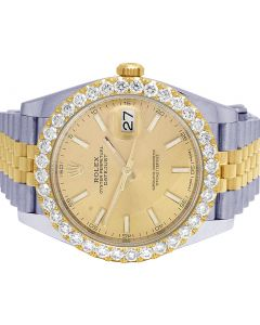 Rolex 18K/ Steel  Datejust II 41MM 126333 Diamond Watch 4.5 Ct