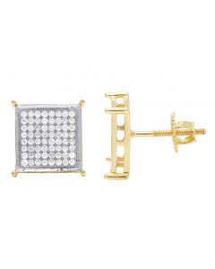 10K Yellow Gold Pave 4 Prong 10mm Square Diamond Earrings .60CT
