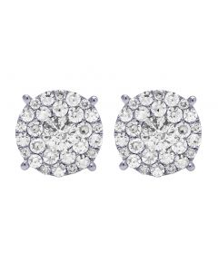 14K White Gold 2 CT Diamond Round Cluster 11MM Stud Earrings