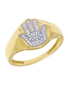 10k Yellow Gold Men Hamsa Hand Diamond Ring .13CT 13MM