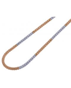 10K Two Tone Gold Diamond Cut Ice Chain 4MM 20-26 Inches