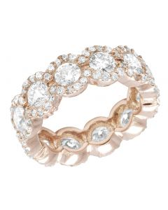 14K Rose Gold Real Diamond Halo Eternity Ring 3.5 CT 7MM