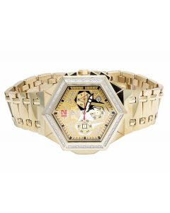 Mens Aqua Master Hexagon Shape S.Steel Diamond Watch W#356 0.24 Ct