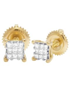 14K Yellow Gold Princess 3 Row Invisible 4 Prong Earrings .25CT