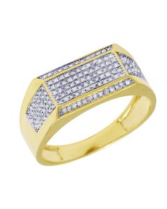 Mens Yellow Gold Rectangle Frame Diamond Pinky Ring Band 0.35 CT