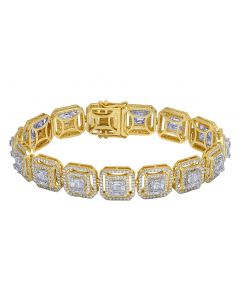 14K Yellow Gold Real 9.15 CT Diamond Baguette Link Bracelet 13MM 8""