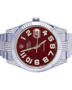 Rolex Datejust II 116300 41MM Red Dial Diamond Watch 6.0 Ct