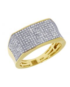 10K Yellow Gold Real Diamond Mens Pave Pinky Ring 11.5mm 0.70 CT