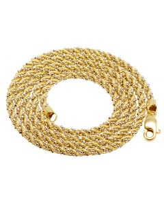 10K Two Tone Gold Rope Wrapped Beaded Chain 2.5MM 20-24 Inches