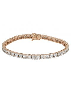 10K Rose Gold Real 5.75 CT Diamonds Baguette Tennis 5MM Bracelet 8""