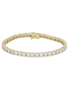 10K Yellow Gold Real 5.75 CT Diamonds Baguette Tennis 5MM Bracelet 8""