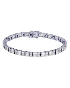 14K White Gold 8.75CT Diamond 5.5MM Tennis Baguette Bracelet 7.5""