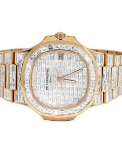 18K Rose Gold Patek Philippe Nautilus 5711 Baguette Diamond Watch 67.75 Ct