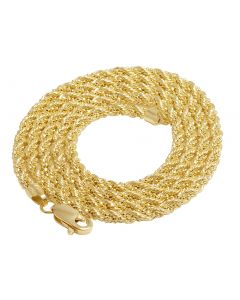 10K Yellow Gold 3MM Rope Wrapped Beaded Chain 20-26 Inches