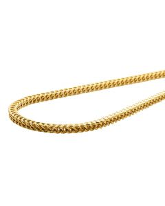 10K Yellow Gold 3MM Hollow Franco Box Link Chain Necklace 18-30 Inches