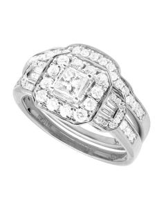 10K White Gold Princess Diamond Cluster Solitaire Ring Set with Baguette Accents 0.9CT