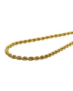 10K Yellow Gold 3 MM Hollow Rope Chain 16-28 Inches