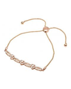 Ladies 10K Rose Gold Diamond 6MM Heart Bolo Bracelet 0.50 Ct 7""