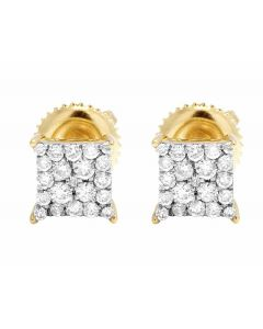10K Yellow Gold Kite Pave Real Diamond Stud Earrings .50ct 7MM