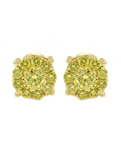 10K Yellow Gold Canary Diamond Cluster Stud Earrings 0.75 CT 8MM