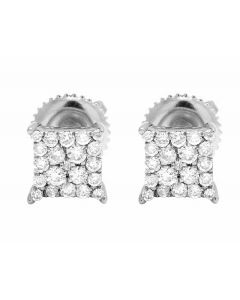 10K White Gold Kite Pave Real Diamond Stud Earrings .50ct 7MM