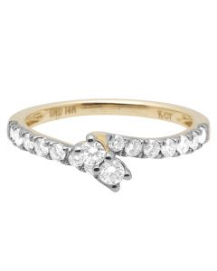 14K Yellow Gold 2 Stone Solitaire 1 Row Diamond Ring 0.5 ct