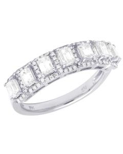 14K White Gold Diamond Emerald Solitaire Wedding Band Ring 1.25 Ct 5MM