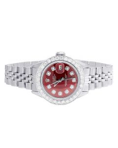 Ladies Rolex Datejust Oyster 69173 Red Dial Diamond Watch 2.0 Ct