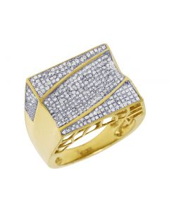Mens Yellow Gold Rectangle Wave Pave Pinky Ring 1 CT