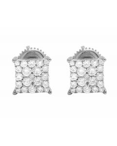 10K White Gold Kite Pave Real Diamond Stud Earrings .25ct 6MM