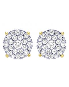 Yellow Gold 4 Prong 1.10CT Diamond Flower Cluster Earrings 12mm