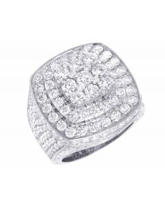 Men's 14K White Gold Genuine Diamond 3D Square Ring 8 4/5 CT 23MM