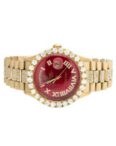 Rolex President 18K Yellow Gold Day-Date Red Dial Diamond Watch 10.0 Ct