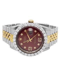 Rolex Datejust 18K Stainless Steel with Custom Dial Diamond Watch (5.5 Ct)