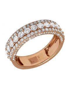 10K Rose Gold Real Diamond Men's 3D Wedding Band Ring 3 CT 7MM